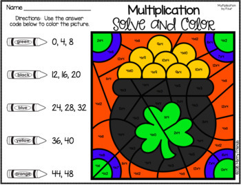 St. Patricks Day Multiplication Solve and Color Worksheets - Morning Work