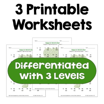 St. Patrick's Day Math: 2 Digit by 1 Digit Multiplication Worksheets (3 Levels)