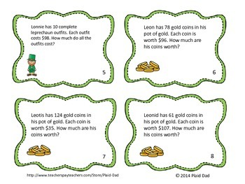 St. Patrick's Day Multiplication Word Problem Task Cards