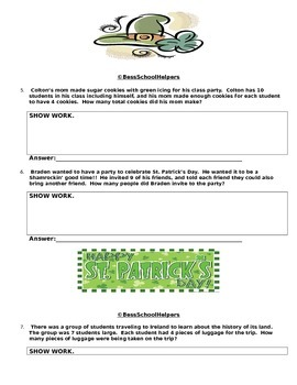 St. Patrick's Day Math- Multiplication Word Problems-Common Core Aligned