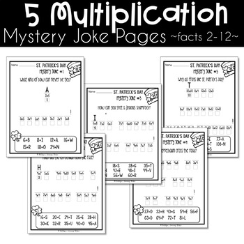 St Patricks Day Multiplication and Division Worksheets