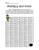 St. Patrick's Day Multiply and Color Activity