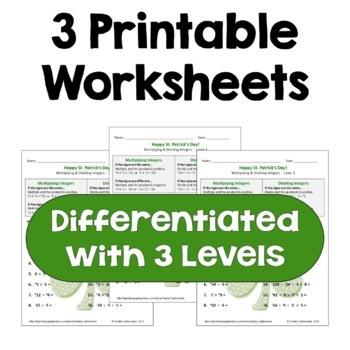 St. Patrick's Day Math: Multiplying & Dividing Integers Worksheets (3 Levels)