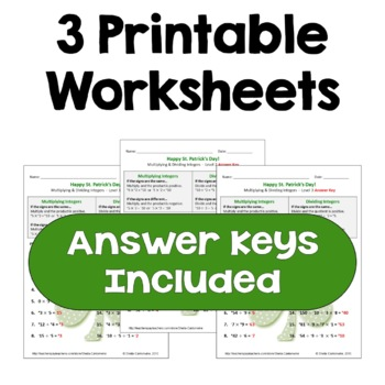 St. Patrick's Day Math: Multiplying and Dividing Integers Worksheets (3 Levels)