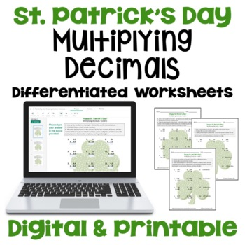 St. Patrick's Day Math: Multiplying Decimals Worksheets (3 Levels)