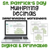 St. Patrick's Day Math: Multiplying Decimals Worksheets (Differentiated)
