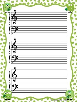Free! St. Patrick's Day Music Staff Paper: Grand Staff