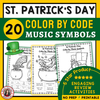 St Patrick's Day Color by Music Symbol