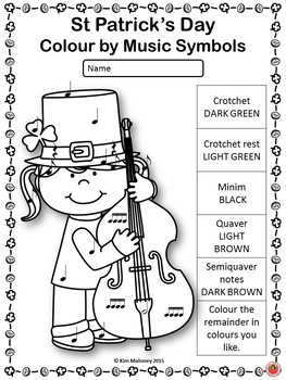 St Patrick's Day Colour by Music Symbol  - British Terminology