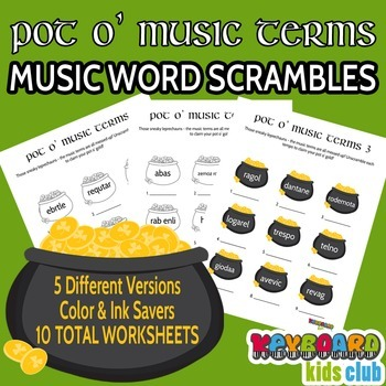 St Patrick's Day Music Terms Word Scramble Worksheet Pack