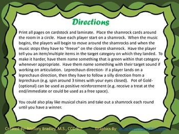 St. Patrick's Day Musical Shamrocks Game for Speech and Language