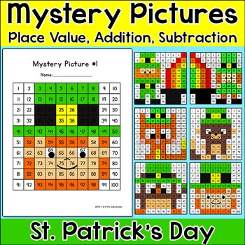 St. Patrick's Day Math Hundreds Chart Mystery Pictures: Leprechauns & Rainbows