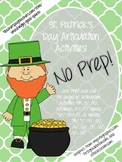 St. Patrick's Day NO PREP Speech Therapy Articulation Packet