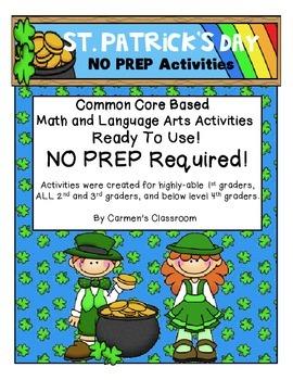 St. Patrick's Day NO PREP Math & Language Arts Activities Common Core Based