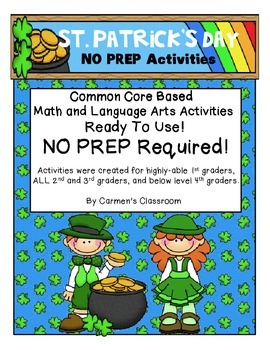 St. Patrick's Day NO PREP Math & Language Arts Activities Common Core Based