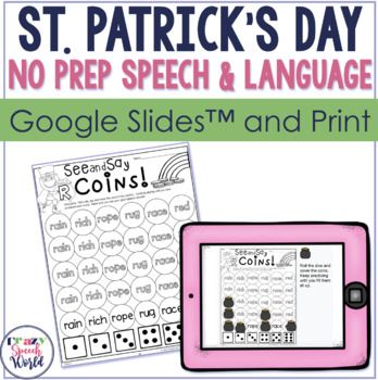 St. Patrick's Day NO PREP Speech Therapy Activities!