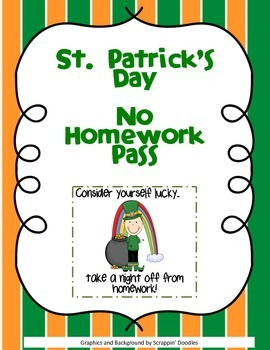 St. Patrick's Day No Homework Pass FREEBIE