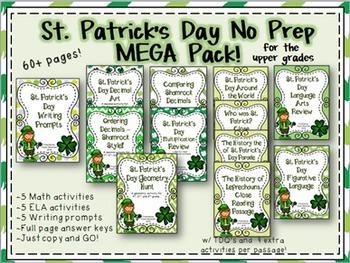 St. Patrick's Day No Prep, Print and Go MEGA Pack - for the upper grades