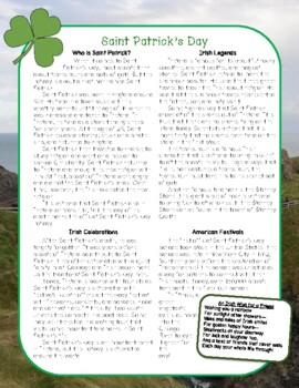 St. Patrick's Day Nonfiction Close Reading Passage