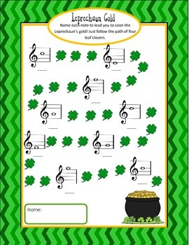 St. Patrick's Day Note Worksheets