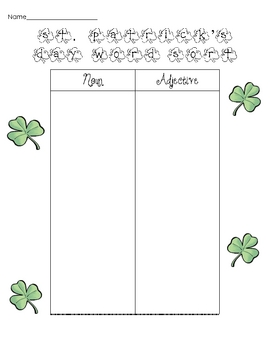 St. Patrick's Day Noun and Adjective word sort