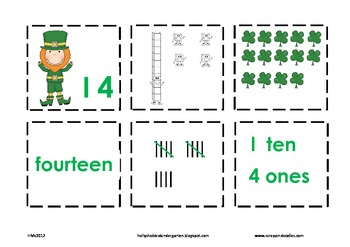 St. Patrick's Day Number Cards- Place Value, Ten Frames, Number Words, Tally