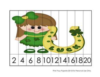 St Patrick's Day Number Counting Strip Puzzles - 5 Designs - Skip by 2