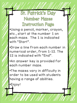 St. Patrick's Day Number Mazes