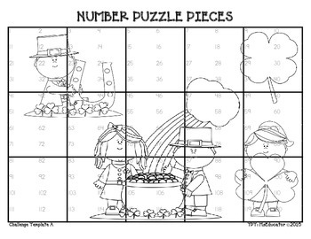 St. Patrick's Day - Number Puzzle Pieces EASY PREP