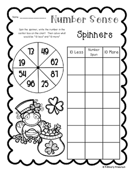 St. Patrick's Day Number Sense: 10 More, 10 Less, 100 More, 100 Less Spinners