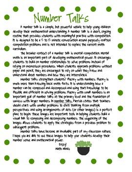 St. Patrick's Day Number Talks for Grades K-1