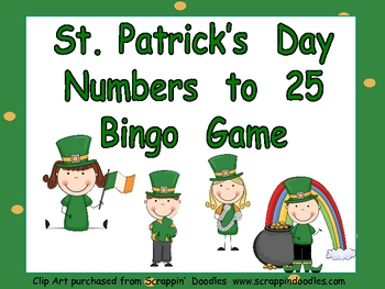 St. Patrick's Day Numbers 1-25 Bingo Game-  Kindergarten