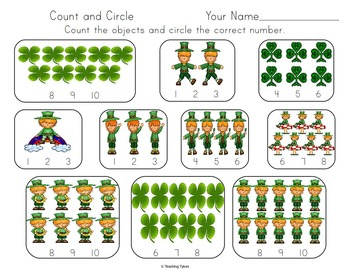 St. Patrick's Day Number sense and Numeration Numbers and Counting