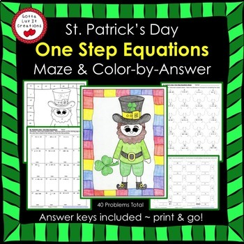 St. Patrick's Day Math One Step Equations (Negs) Maze & Color by Number Bundle