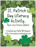 St. Patrick's Day Open and Closed Syllables
