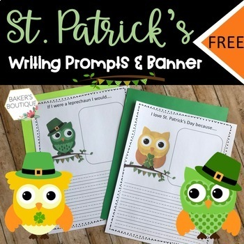 St. Patrick's Day Owl Pennant Banner and Writing Activities-Bulletin Board Idea