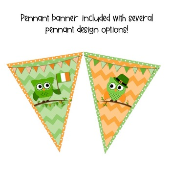 St. Patrick's Day Writing Prompts and Pennant Banner-FREE