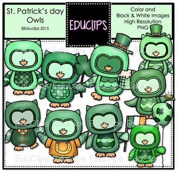 St Patrick's Day Owls Clip Art Bundle {Educlips Clipart}