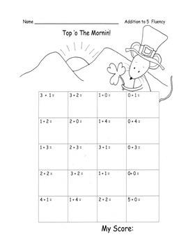 St. Patrick's Day 30 p PACK ELA, Math Centers, Fluency, Practice Sheets C.Core