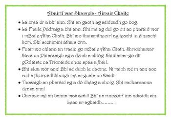 St Patricks Day Parade. Writing Gaeilge.