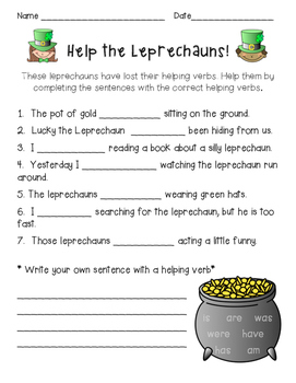 St. Patrick's Day Grammar {parts of speech & helping verbs}