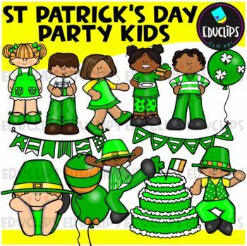 St Patrick's Day Party Kids Clip Art Bundle {Educlips Clipart}