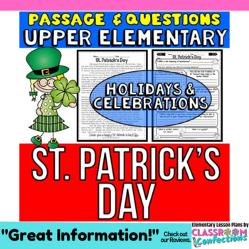 St. Patrick's Day: Reading Passage and Questions: Reading Comprehension Activity