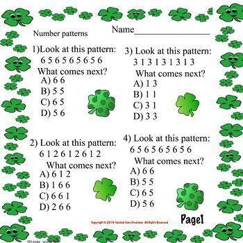 St. Patrick's Day Pattern Math Printable