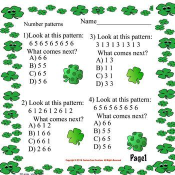 St. Patrick's Day Pattern Math Printable