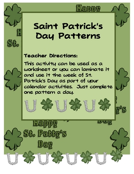 St. Patrick's Day Patterns Worksheet or Calendar Activity