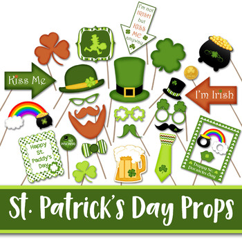 St Patricks Day Photo Booth Props and Decorations - Printable