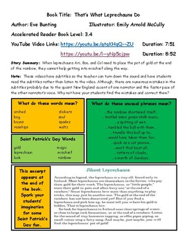 St Patricks Day Pk That's What Leprechauns Do Book Activities Sequence Vocab Map