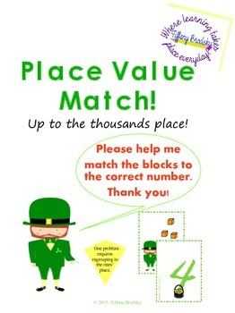 St. Patrick's Day Place Value Match Math Game