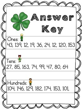 St. Patrick's Day Place Value Sort Math Station activity